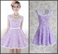 High-end Preppy Style Summer Woman Flare Sleeve Print Mini Purple Dress Cascading Ruffle Slim A-Line Hem Prince Dress For Party