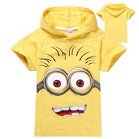 Retail 1p New 2014 boys and girls despicable me 2 minion short t-shirts kids baby children t shirts child hoodies clothing K8813