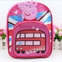 2014 kids backpack peppa pig backpack children kindergarten school bag  rose red kids girls gift preschool backpack stationery
