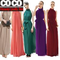 Free shipping ! 2014 spring summer women fashion elegant full long maxi chiffon evening party solid vintage beach dress Z607