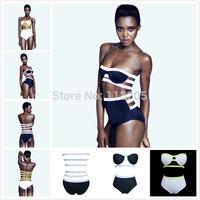 Sexy Women Patchwork White & Black Bandage Swimsuit Push/Pin Up Bikini Set Womens Brazilian Beach Suit High Waist Retro Swimwear