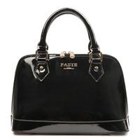 Free Shipping ( Black ) Noble  split cow leather  ( patent leather )  messenger bag  Tote Bag   handbag