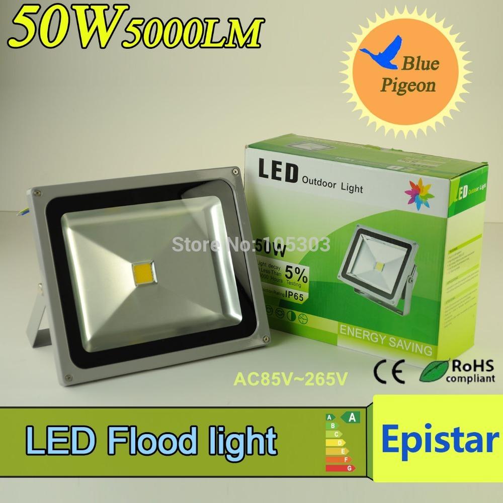 4pcs/lot LED Flood Light 50W 5000 lm IP65 Waterproof Lamps LED Outdoor Lighting New 2015 Color Box AC85V~265V Led Floodlight(China (Mainland))