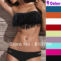 Free Shipping Beauty Women Favor Padded Boho Fringe Top Strapless Bikini set Sexy Swimsuit Top and Bottoms Swimwear hot sale