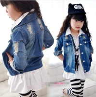 spring 2014 fashion baby kids girl child Water wash blue distrressed child denim outerwear hot selling for girls cute jackets