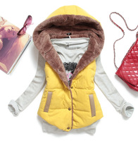 New 2014 Autumn & Winter Plus Size Slim Plus Velvet Vest Thermal Down Cotton With A Hood Vest Female All-Match Stock
