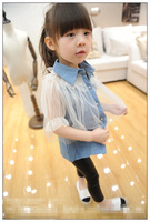 Free Shipping New fashion girls children's baby clothing girl patchwork denim shirt,kids girl's lace blouses 5pcs/lot wholesale