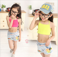 2014 summer new children's clothing,Small and Large girl sports vest cotton,Girls elastic straps wrapped chest Bra