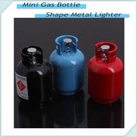 Portable Creative Mini Gas Bottle Shape Metal Lighter Refillable Butane Gas Cigarette Lighters For Christmas Giftstmas Gift