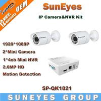 SunEyes 2ch 1080P Full HD IP Camera NVR Kit 3.6mm Lens IR Night Vision Super Mini NVR CCTV Kit SP-QK1821