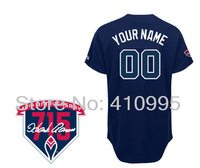 Atlanta Baseball Personalized Alternate Road Cool Base Jersey wHank Aaron 715th HR 40th Anniversary Patch Free Shipping