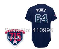 Atlanta Baseball 64 Carlos Perez Alternate Road Cool Base Jersey wHank Aaron 715th HR 40th Anniversary Patch Free Shipping