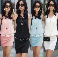 Dropshipping!New 2014 Summer Women Mini Dress Lady Crew Chiffon Sleeveless Causal Tunic Plus Size M L XL Women Clothes FF119