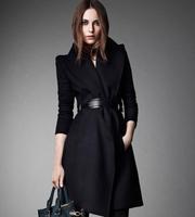 2014 New Brand Sobretudo Women's Casacos Femininos Woolen Jacket Long Sections a Luxury Temperament Lace Buckle Wool Coat j3075