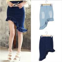 new 2014 summer women skirt asymmetrical restoring ancient ways in the bud cowboy skirts denim skirts women