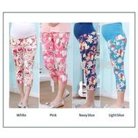 Pregnant Pants 4colors S-2xl Floral Maternal Capris Calf-length Maternity Leggings Summer Pregnancy Wear Strech Abdominal Leggin