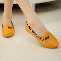 2014 all seasons women casual shoes leopard print bow round toe flat heel shoes Moccasins,Espadrilles,Sapatos Femininos
