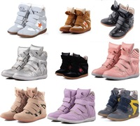 Drop Shipping /Isabel Marant Leather Boots Height Increasing Sneakers Shoes Free Shipping