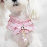 Free Shipping Dog Lace diamond pendant pearl necklace pet accessories Dog Lace necklace