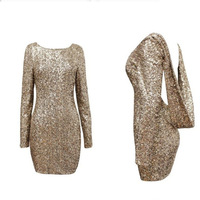 Fashion major halter back long sleeve sequin dress paillette backless bodycon party dresses open back spangle bling gown