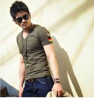 2014 Summer New Korean Men Brand Slim T-Shirts Man Printing Fashion V-neck Cotton T Shirt Plus Size M to XXXL