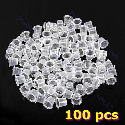 100 pcs 13mm Medium Tattoo Ink Cups Plastic Caps Supplies(China (Mainland))