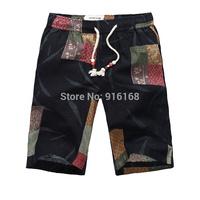 cheap fashion brand mens cotton elastic waist shorts patchwork unique retro print shorts for men summer casual knee short clothe