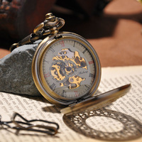 New Design Cool Men Watch With Chain Necklace Steampunk Mechanical Hand Wind Pocket Watch 2014 Hot Sale