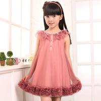 Free Shipping Girls 2014 Summer Fashion Princess one-piece Dress child yarn suspender Dress  laciness Kids Dress
