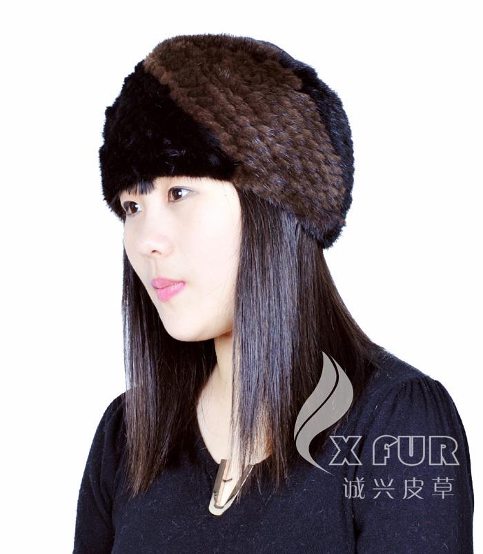 CX-E-28B Winter Genuine Mink Fur Custom Elastic Headbands(China (Mainland))