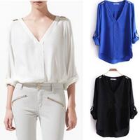 New 2014  Fashion Za Rivet Epaulette sexy Chiffon V-neck Long-Sleeve folding women Shirts blouses casual tops clothing 1014