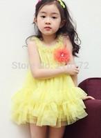 2014 girls fashion flower dress new arrival girl sleeveless dresses children sundress kids lace dresses
