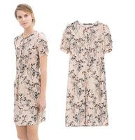 2014 spring and summer new European stations Slim thin short-sleeved cotton dress printed pastoral female waist skirt 649