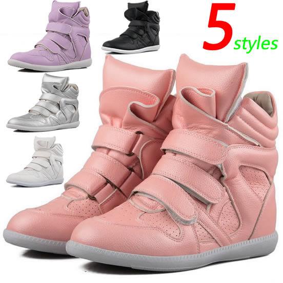 Projeto Popular Isabel Marant Cunhas Sapatilhas ,5- estilos pequeno buraco em couro, altura crescente seis centímetros , tamanho 35 ~ 39 , Nenhum logotipo , sapatos femininos(China (Mainland))
