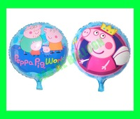 50pcs/Lot Free shipping New Peppa Balloon, Foil balloons,2 different side.