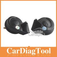 2014 HOT !!! 2pcs/lot Universal MINI Black Loud Dual-Tone Snail 12V 65C Electric Horn With Best Price
