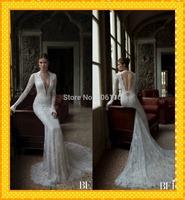 2015 Sexy vestido de noiva White Lace Mermaid Wedding Dresses Open Back Long Sleeve Royal Train Church Wedding Bridal Dress Gown