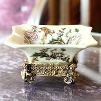 Meiju crack ceramic luxurious fashion resin ashtray vintage Large ashtray home decoration