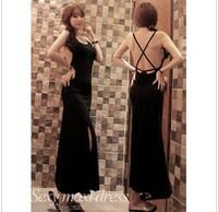 2014 new arrival black Sexy slim cross behind placketing one-piece dress full  dress