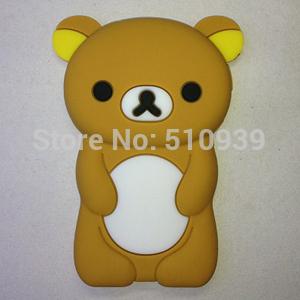 1pcs New Cute 3D Cartoon Rilakkuma Bear Silicone Case for Apple iPod Nano 7 7G 7TH + 12 Different Colors free shipping(China (Mainland))