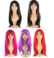 Free shipping Festival Girls Wig 50CM Party 5 Women Wigs Purple Straight Long Colors