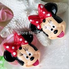 Nova chegada / / resina artesanato Minnie Mouse cabeça resina cabochão natator 20 pçs/lote para imã acessórios de cabelo(China (Mainland))