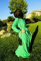 2014 New Fashion Muslim Chiffon Long Sleeve Long Dress  Style Beach Pure Color With Belt Blue/Green/Beige/Pink/Black/Yellow