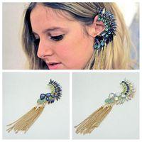LE387 Free shipping fashion luxurious long tassel drop earrings big rhinestone ear clip for lady