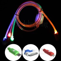NEW Universal Multi-Color 1M LED Lighting 3 In 1 30Pin Micro USB Data Sync Charger Cable Free Shipping