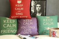 IKEA Nordic European style Keep Calm series four-color retro cotton pillow cushion sofa cushion pad  / wdx620