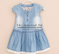 2014 Wholesale Girl Dress Jeans Baby Dresses Atacado Roupas Infantil Washable Demin Cotton Dress Vest Casual Clothes
