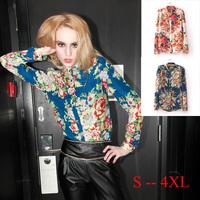 New 2014 Womens Blouse Autumn Long Sleeve Blouse Shirt Chiffon Flower Blouse Ladies Tops Clothing S001