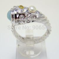 100% Silver Ring Wedding Gift Vintage jewelry ring Natrual Larimar Ring DSC08290 Free Shipping