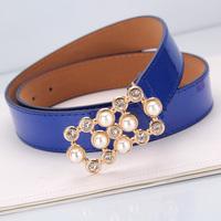 Pearl diamond strap female all-match women's belt wide belt japanned leather fashion decoration strap